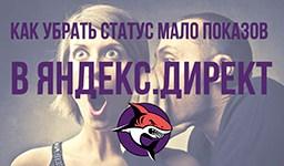 Как убрать статус мало показов в Яндекс.Директ